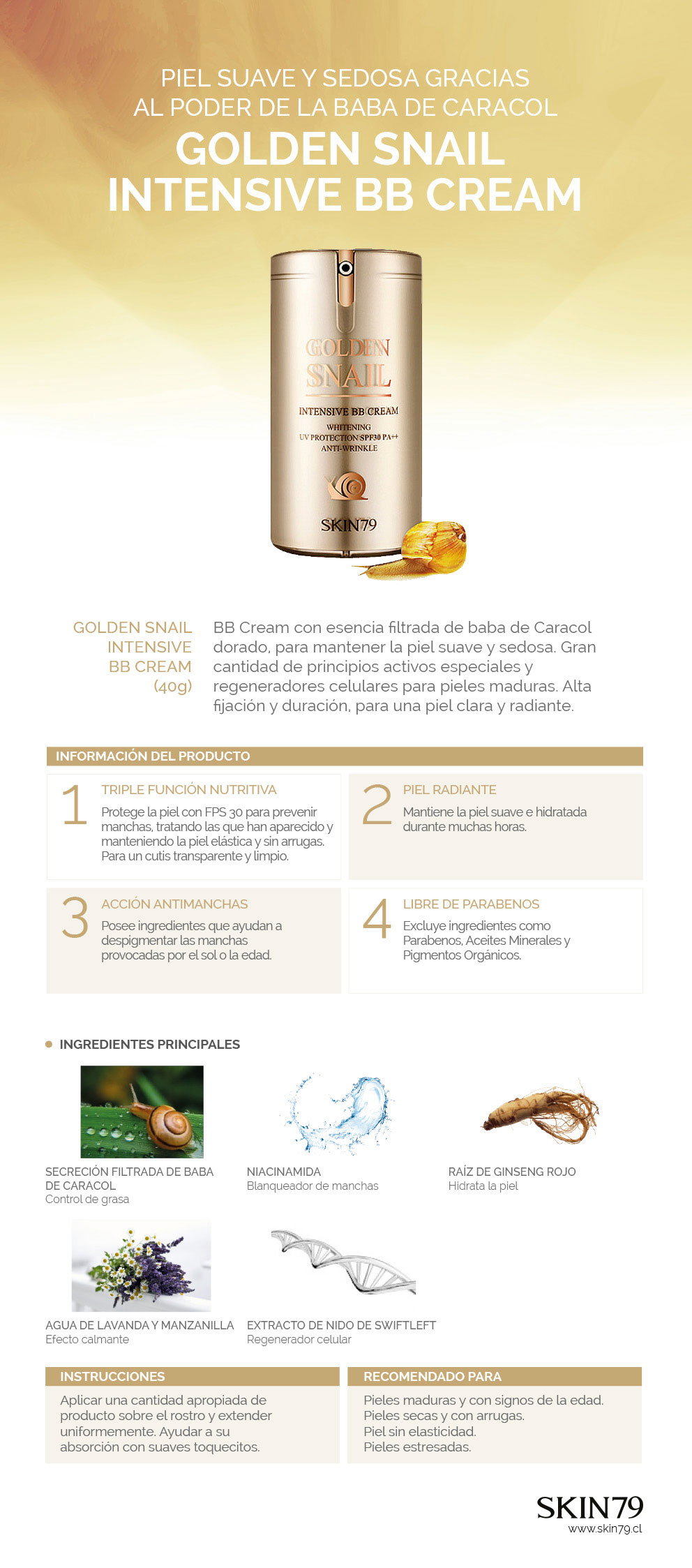 GOLDEN SNAIL INTENSIVE BB CREAM - Skin79