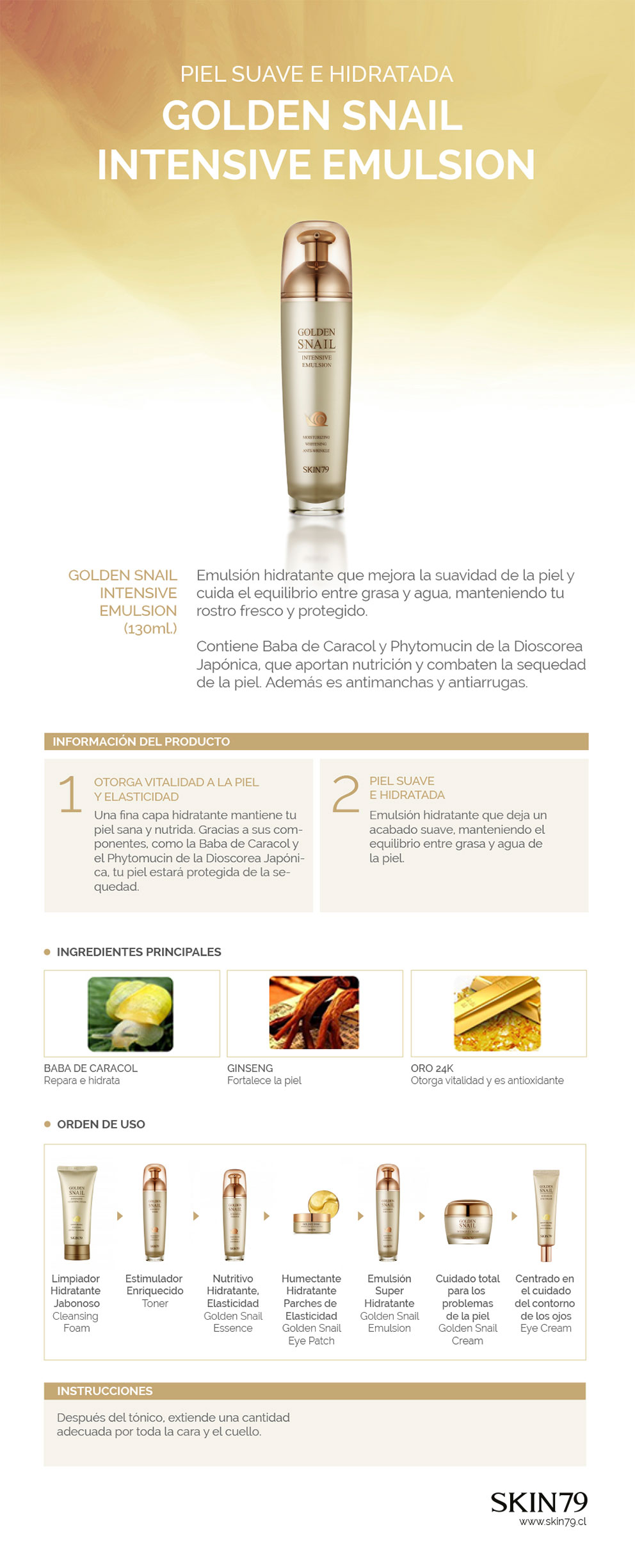 GOLDEN SNAIL INTENSIVE EMULSION - Skin79
