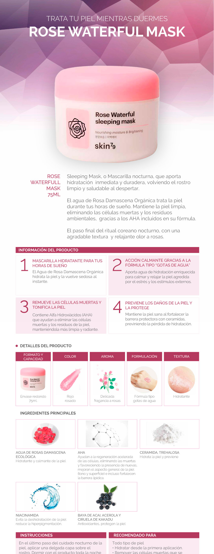 Rose waterful sleeping mask - Skin79